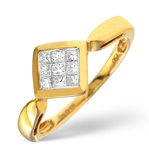 Diamond 0.25ct and 18K Gold Cluster Ring - RTC-N3464