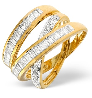 Designer Crossover Diamond Ring 0.85ct Set in 18K Gold