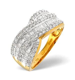 Diamond 1.00CT 18K Yellow Gold Cross-Over Ring