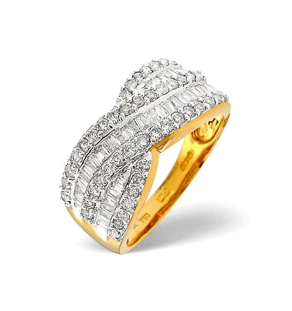 Diamond 1.00CT 18K Yellow Gold Cross-Over Ring - image 1