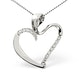 Heart Pendant 0.15ct Diamond 9K White Gold - image 1