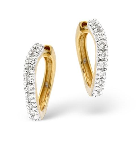 Hoop Earrings 0.11ct Diamond 9K Gold - image 1