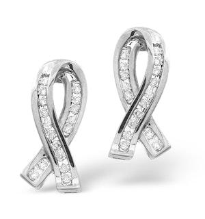 Ribbon Earrings 0.31ct Diamond 9K White Gold