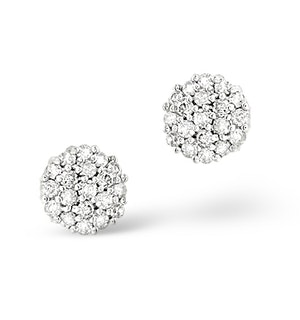 Cluster Earrings 0.25ct Diamond 9K White Gold