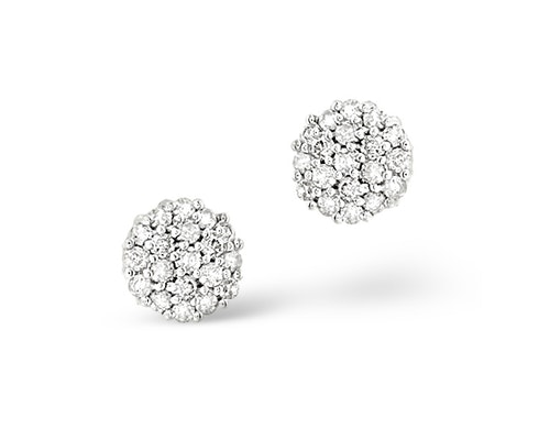 Round Cut Diamond Cluster Earrings