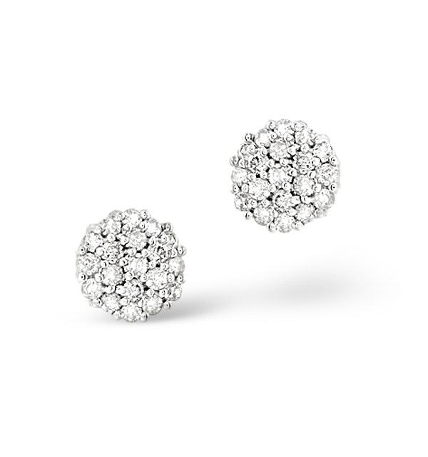 Cluster Earrings 0.25ct Diamond 9K White Gold - image 1