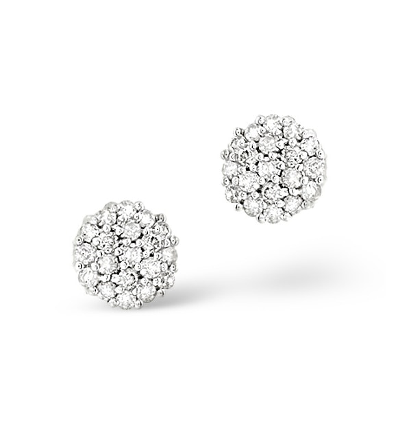Cluster Earrings 0.25ct Diamond 9K White Gold - image 1