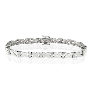 Love and Kisses Bracelet Lab Diamond Set in 925 Silver