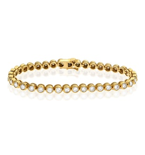 Diamond Tennis Bracelet Rubover Style 3.00ct 9K Yellow Gold