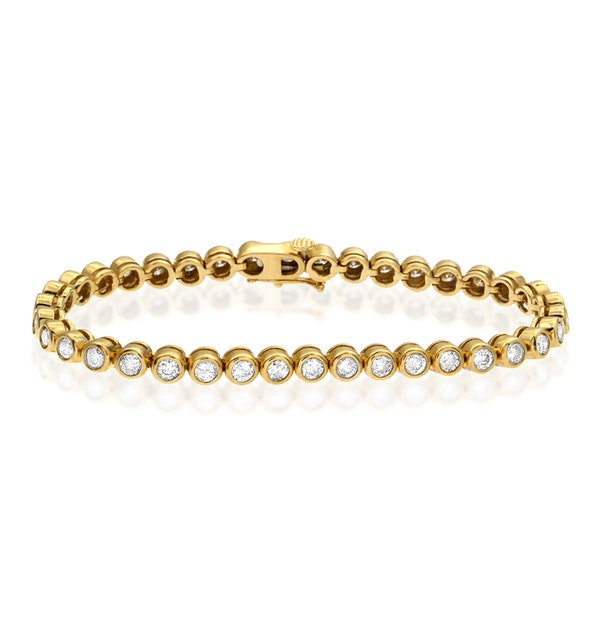 Diamond Tennis Bracelet Rubover Set 5.00ct H/Si in 18K Gold - image 1