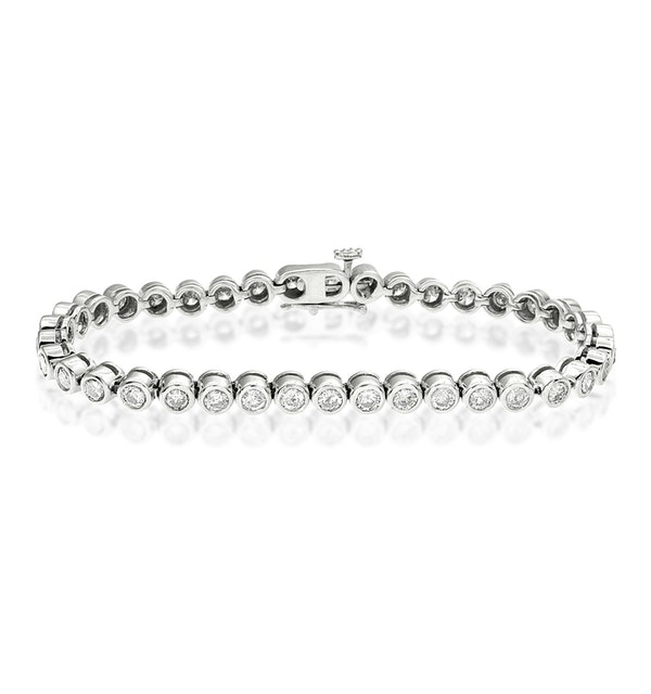 Diamond Tennis Bracelet Rubover Style 4.00ct 9K White Gold - image 1
