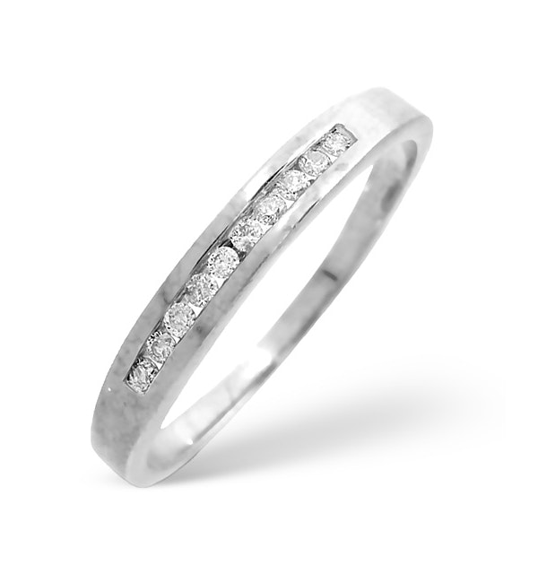 Half Eternity Ring 0.15CT Channel Set Diamond 9K White Gold - image 1