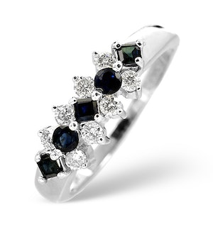 Sapphire And 0.25CT Diamond Ring 9K White Gold