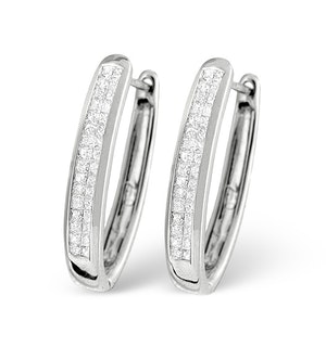 Diamond Hoop Earrings Invisible Set with 0.50ct H/Si in 18K Gold