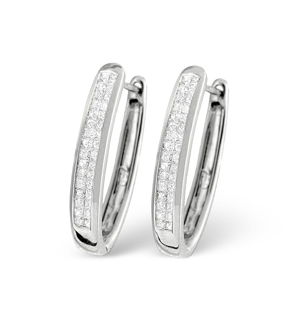 9K White Gold Princess Diamond Earrings 0.50ct H/Si - image 1