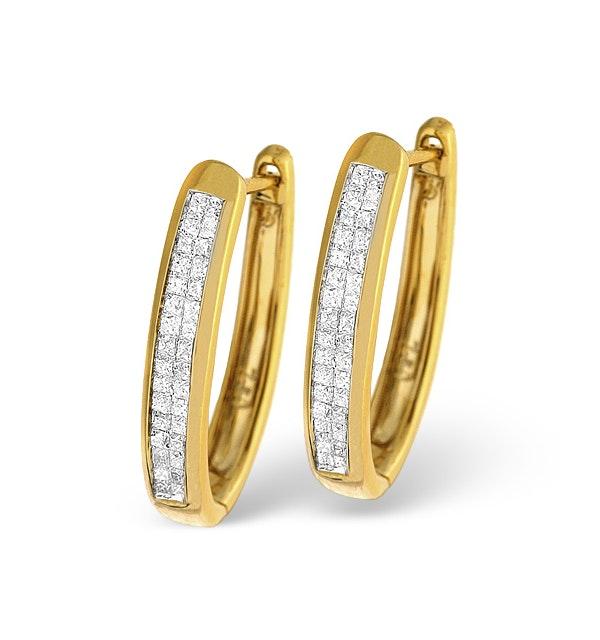 9K Gold Princess Diamond Earrings 0.50ct H/Si - image 1