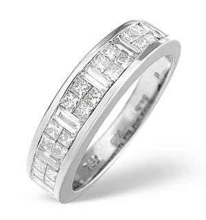 18K White Gold Princess and Baguette Diamond Half Eternity Ring