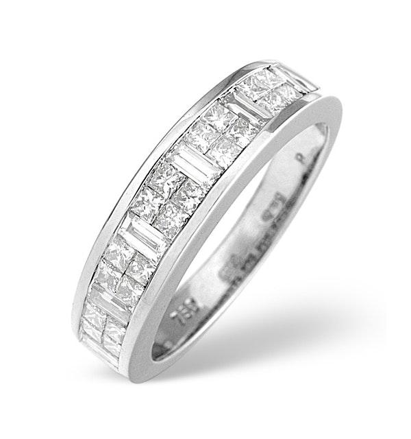 18K White Gold Princess and Baguette Diamond Half Eternity Ring - image 1