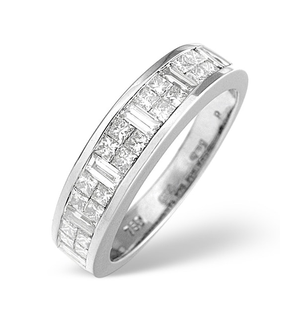 18K White Gold Princess and Baguette Diamond Half Eternity Ring - image 1