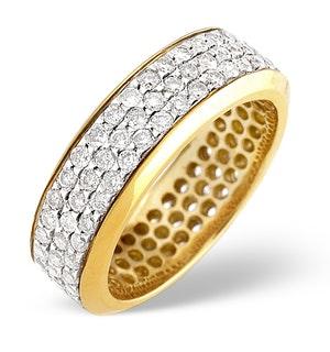 18K Gold Diamond Three Row Full Eternity Ring 1.30CT