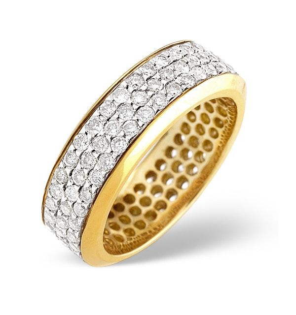 18K Gold Diamond Three Row Full Eternity Ring 1.30CT - image 1