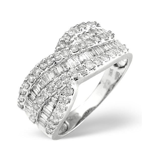Diamond 1.00CT 18K White Gold Cross-Over Ring - image 1