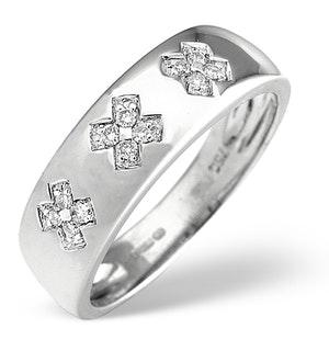 18K White Gold Diamond Kisses Ring 0.10CT