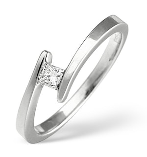 H/Si Solitaire Ring 0.15CT Diamond 18K White Gold