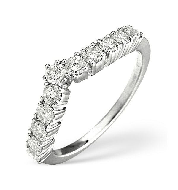 Diamond Wishbone Ring 0.70ct in 18K White Gold - image 1