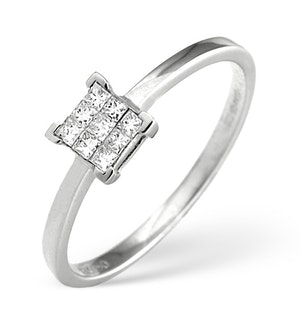 18K White Gold Princess Diamond Cluster Ring