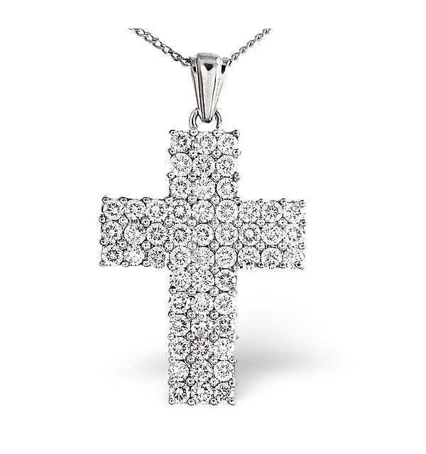 H/Si Cross Pendant 2.00CT Diamond 18KW - image 1