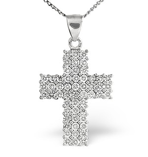 H/Si Cross Pendant 1.00CT Diamond 18KW