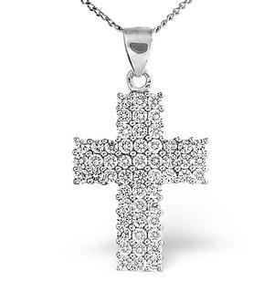 H/Si Cross Pendant 1.00CT Diamond 18KW