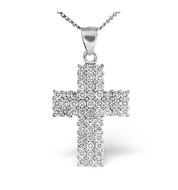 H/Si Cross Pendant 1.00CT Diamond 18KW - image 1