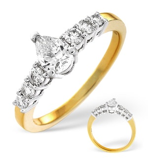 H/Si Solitaire With Shoulders Ring 0.80CT Diamond 18K Yellow Gold
