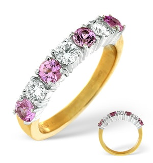 Pink Sapphire 1.15ct and Diamond Ring 0.50ct 18K Gold Ft32