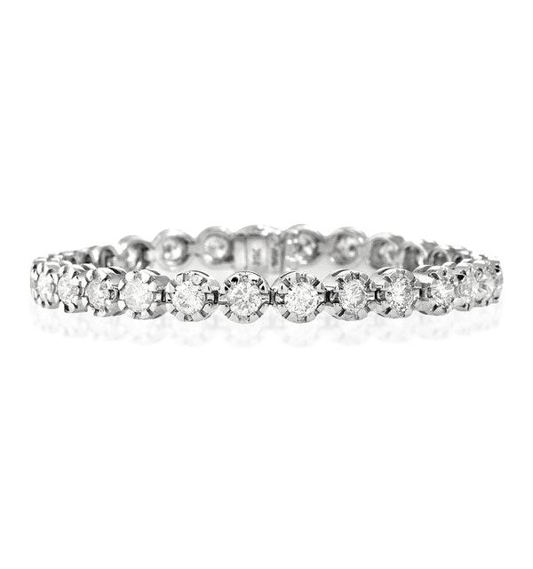 Diamond Tennis Bracelet 7.37ct 18K White Gold - image 1