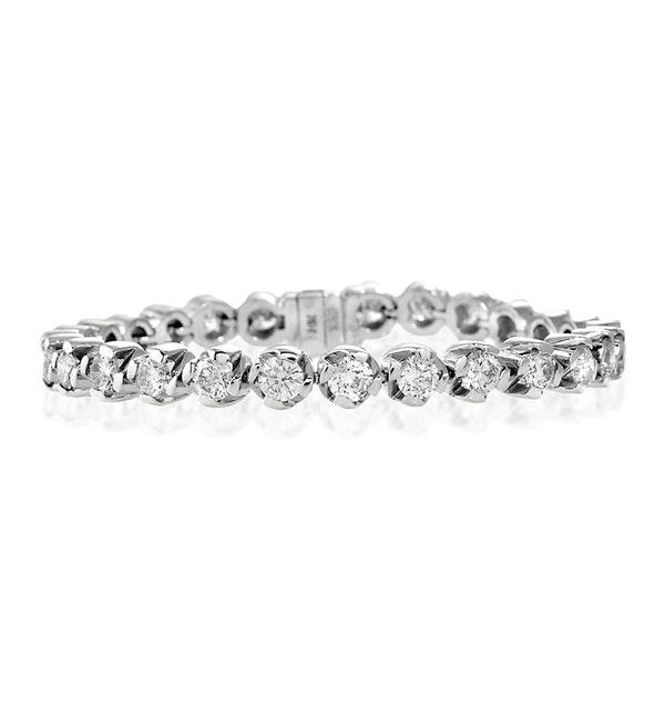 Diamond Tennis Bracelet 9.10ct 18K White Gold - image 1