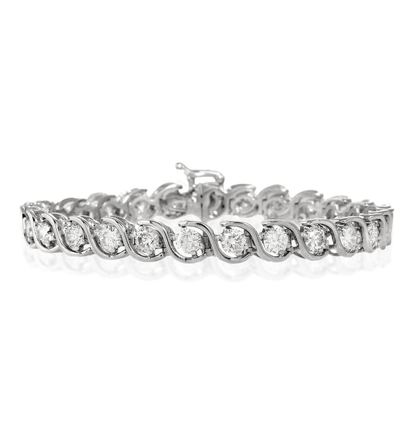 Diamond Tennis Bracelet 7.00ct 18K White Gold - image 1