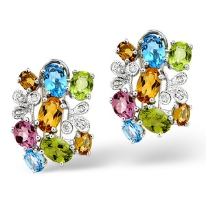 Multi And 0.06CT Diamond Earrings 9K White Gold