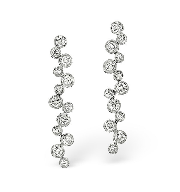 H/Si Drop Earrings 2.00CT Diamond 18KW - image 1