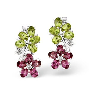 Multi And 0.04CT Diamond Earrings 9K White Gold