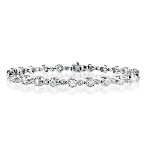 Diamond Tennis Bracelet 3.50ct 18K White Gold - image 1