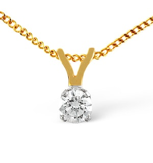Diamond Solitaire Necklace 0.25CT Diamond 9K Yellow Gold