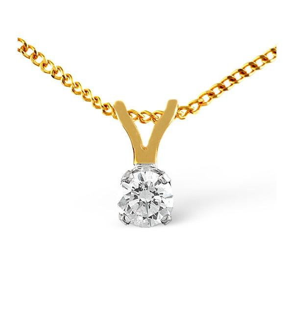 Diamond Solitaire Necklace 0.25CT Diamond 9K Yellow Gold - image 1