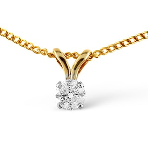 Diamond Solitaire Necklace 0.10CT Diamond 9K Yellow Gold