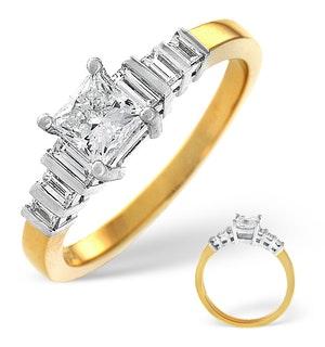 18K Gold Princess and Baguette Diamond Shoulder Ring