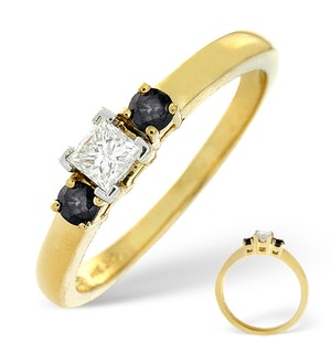 Blue Sapphire And 0.15CT Diamond Ring 18K Yellow Gold