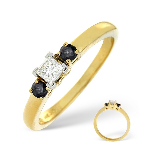 Blue Sapphire And 0.15CT Diamond Ring 18K Yellow Gold - image 1
