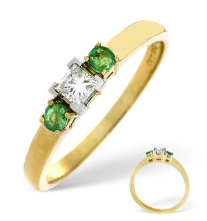 Emerald And 0.15CT Diamond Ring 18K Yellow Gold